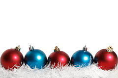 Blue and red Christmas balls white Stock Photography