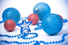 Blue and Red Christmas Baubles and Star Royalty Free Stock Photo