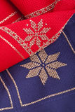Blue and red Christmas quilt Stock Images