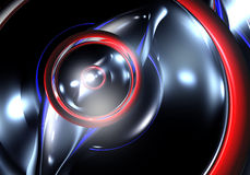 Blue&red circles in the darkness. Study of form and color, 3D rendered image produced with Bryce Stock Photography