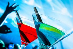 Blue and red cocktail drink with space for text Stock Photo