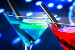 Blue and red cocktail drink with space for text Royalty Free Stock Photography