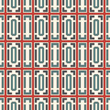 Blue and red color repeated squares and brackets on white background. Seamless pattern with simple geometric ornament. Blue and red color repeated squares and Stock Image