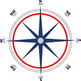 Blue and red compass stock photography