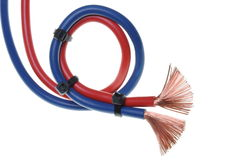 Blue and red cord used on electrical installations Royalty Free Stock Photography