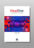 Blue red cover design with HUD and futuristic circles. Vector. Report book cover design. Futuristic future sci fi circles with internet technology and business vector illustration