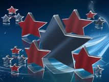 Blue and red 3D stars Royalty Free Stock Images