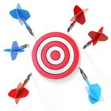 Blue and red dart miss target front view 3D. Rendering illustration isolated on white background stock illustration