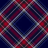 Blue red diagonal check tartan textile seamless pattern Stock Image