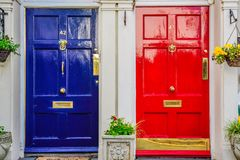 Blue and Red Doors Stock Photography