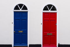 Blue and red doors Royalty Free Stock Image