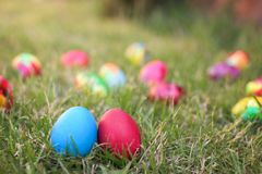 Blue and red easter hen eggs Stock Images