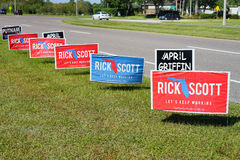Blue and red Election vote sign voting for Rick Scott for Florida Governer Royalty Free Stock Photography