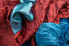Blue and red fabric Stock Photography
