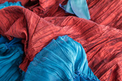 Blue and red fabric Royalty Free Stock Photo