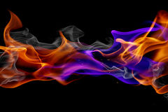Blue and red fire. Isolated on black background Stock Photos