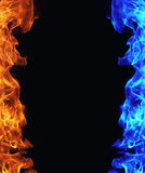 Blue and red fire on black Stock Photos