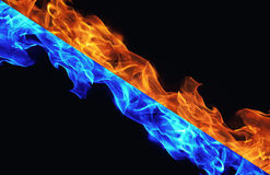 Blue and red fire on black Royalty Free Stock Photography