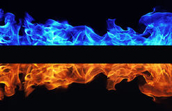 Blue and red fire on black background Royalty Free Stock Image