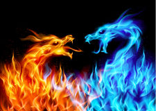 Blue and red fire Dragons stock illustration