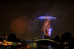 Paris France 14 july 2018 firework on tour eiffel stock images