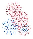 Blue and red fireworks isolated on white background, painted in watercolor. stock image