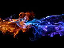 Blue and Red flame. Design over a solid black surface Stock Photography