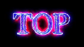 Blue Red flame energy Top word overlay 4k 3D animation stock video footage