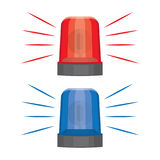 Blue and red flashing warning lights and sirens. Flashing lights for alarm or emergency cases, vector illustration Royalty Free Stock Photos