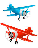 Blue and red flight biplane Royalty Free Stock Images