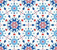 Blue Red Flowers and Hearts Pattern Stock Photos