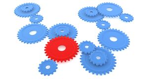 Blue and Red Gears, Isolated. Assorted sizes of blue gears with one red one standing out from the crowd Stock Images