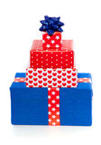 Blue and red gifts Stock Image