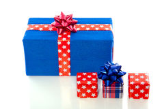 Blue and red gifts and presents Stock Image