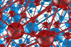 Blue and red glass Molecular geometric chaos abstract structure. Science technology network connection hi-tech background 3d rende. Ring illustration Royalty Free Stock Photo