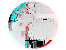 Blue and red glitch effect on round shape royalty free illustration