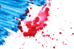 Blue and red gouache paint brush watercolor textures on white background. Art composition stock illustration