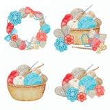 Blue red gray beige Crochet Frame, Shop Logotype set, Branding, Avatar composition of hooks, yarns, crocheted heart, bow
