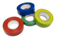 Blue, red, green and colored electrical tape Royalty Free Stock Images
