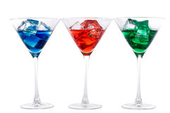 Blue, red and green martinis Royalty Free Stock Photo