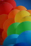 Blue, red, green, orange air balloons Royalty Free Stock Photo