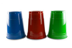 Blue Red and Green Party Cups Stock Photo