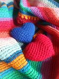 Blue and red happy hearts. Colourful  heart on  stripe shawl freshen the merry day Royalty Free Stock Image