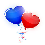 Blue and red heart balloons on white background vector. Valentin. Es Day card Royalty Free Stock Photo