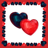 Blue and red  heart  watercolor Royalty Free Stock Photos