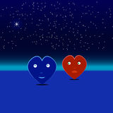 Blue and red hearts on a date. Two love heart from beautiful bright stars on the background of cosmic sky Stock Photos