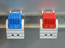 Blue, red industrial switch, power, Stock Images
