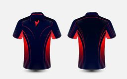 Blue and red layout e-sport t-shirt design template Royalty Free Stock Images