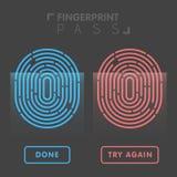 Blue and red line fingerprint in black background  illustration.  Royalty Free Stock Images