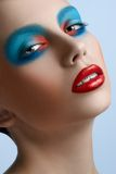 Blue red lips Women Royalty Free Stock Image